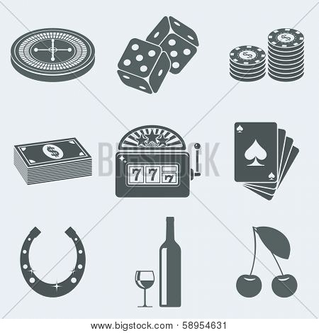 Vector illustration of icons on a theme of gambling