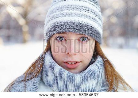 Young Beautiful Woman. Winter Portrait.