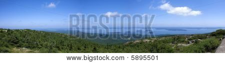 Panoramic View From Cadillac Mountain And Bar Harbor,park Akadia,main,united States