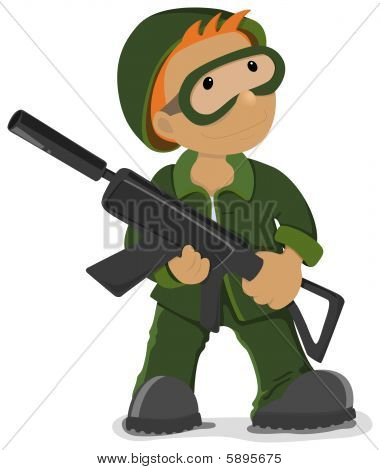 Soldier holding the airsoft gun