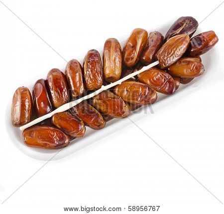 fresh dates fruits surface top view  isolated