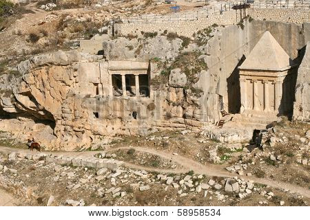 Tomb of of the priest Zechariah located on ancient jewish 3000 years old cemetery on Mount of Olives in Jerusalem, Israel.