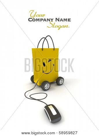 Winking and smiling yellow shopping bag on wheels connected to a computer mouse