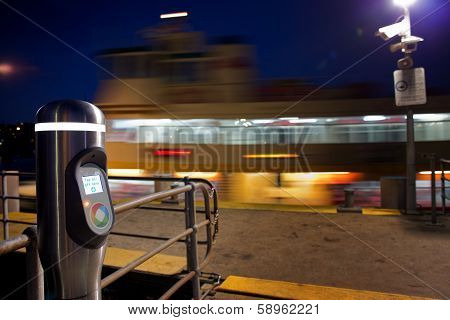 Opal card reader and Sydney ferry