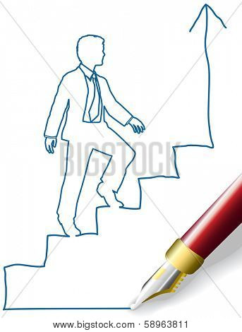 Pen drawing sketch doodle of business person climbing steps up to success