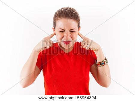 Woman With Fingers Plugging Ears