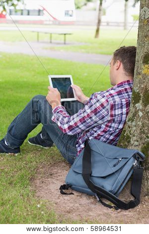 Student using his tablet pc outside leaning on tree on college campus