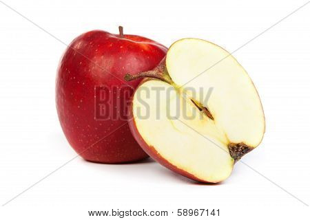 Cross Section Of Red Apple, Showing Pips, And Core