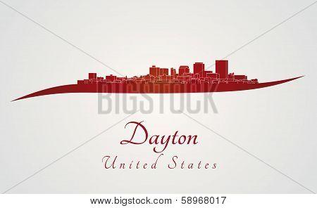 Dayton Skyline In Red