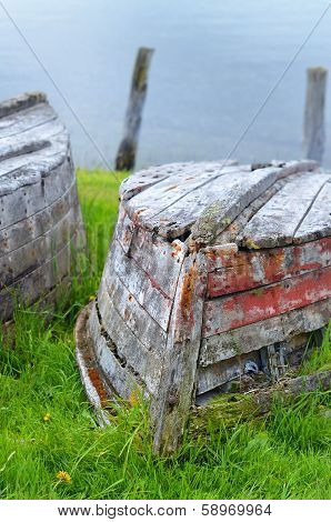 Old abandoned rowboat