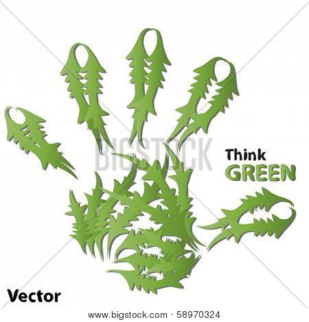 Vector concept or conceptual human or child green ecology hand print symbol  of leafs, isolated on white background, metaphor to nature, environment, recycle, bio, ecological, conservation, ecosystem