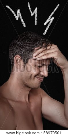 thunder storm migraine on males head
