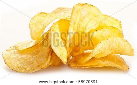 Potato chips on a white background.