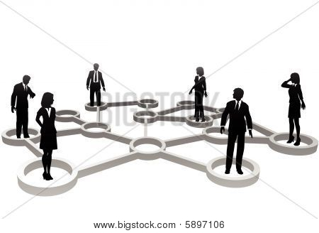 Connected Business People Silhouettes In Network Nodes