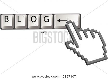 Cursor Clicks Blog Keys On Computer Keyboard