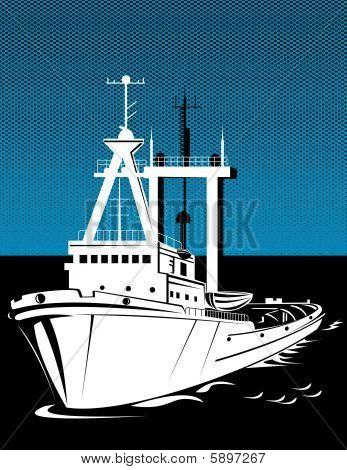 Tug boat sailing