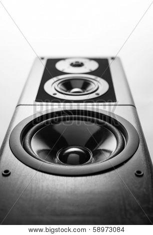 Black audio speaker, stereo equipment.