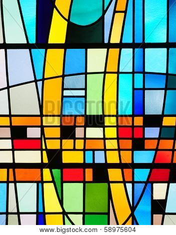 Abstract design in stained glass window