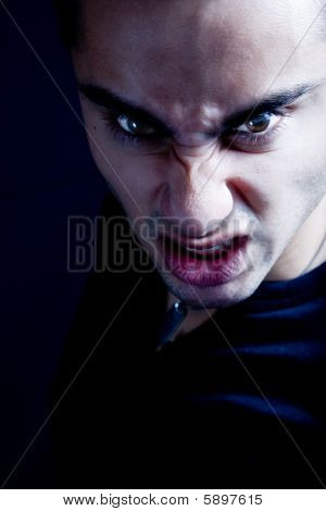 Frown Of Scary Sinister Evil Vampire Man