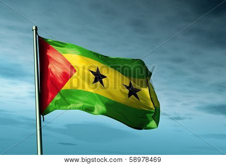 Sao Tome and Principe flag waving on the wind