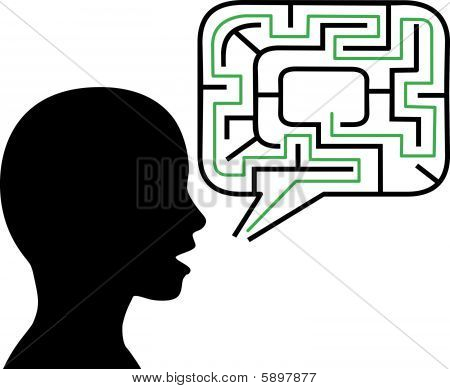 Puzzled Person Silhouette Talks In Maze Speech Bubble Solution