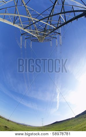 High tension electrical tower and blue sky, Rueda de Jalon, Zaragoza, Spain