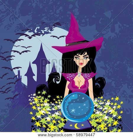 Beautiful Witch With Crystal Ball.