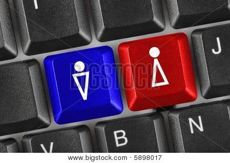 Tastatur mit Mann und Frau Tasten