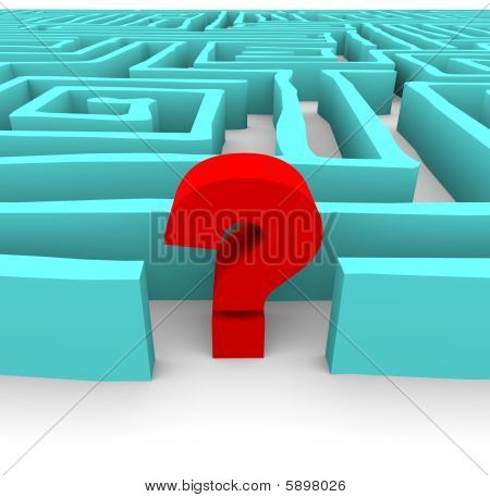 Question Mark In Blue Maze