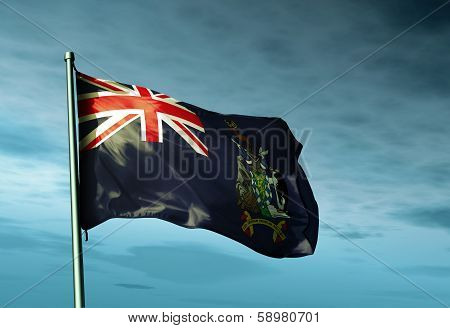 South Georgia and the South Sandwich Islands (UK) flag waving on the wind