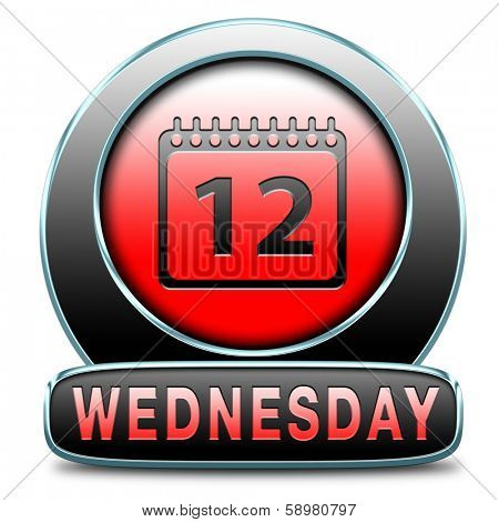 Wednesday week next or following day schedule concept for appointment or event in agenda