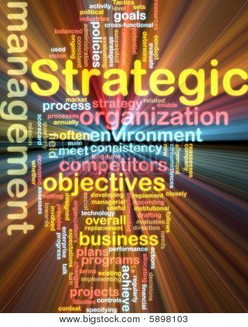 Wordcloud de gestión estratégica que brilla intensamente