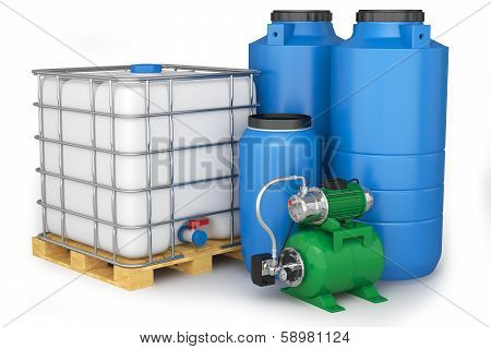 Group of plastic water tanks