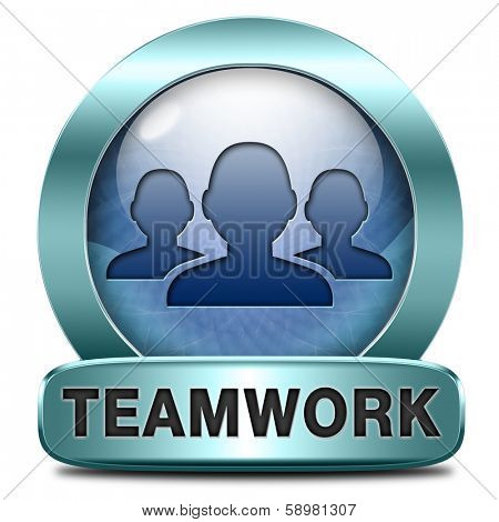 teamwork concept icon, team work and cooperation in partnership working together business partners