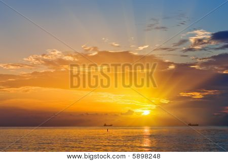Sunrise over Atlantic ocean coast