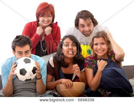 Worried People Watching Football