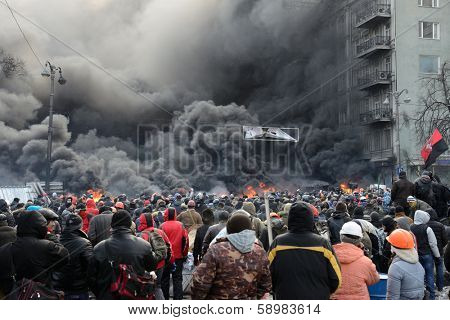 KIEV, UKRAINE - JANUARY 23, 2014: Anti-government protest in Kiev,  Grushevsky str.  People defend barricades.