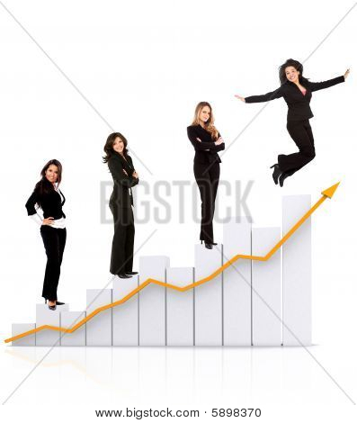 Business Women On A Chart