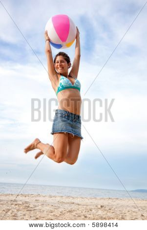 Beach Woman Jumping