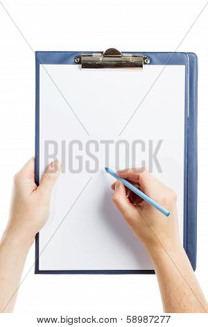 Hand Writing On Clipboard