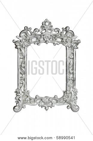 Silver vintage picture frame isolated on white with clipping path.