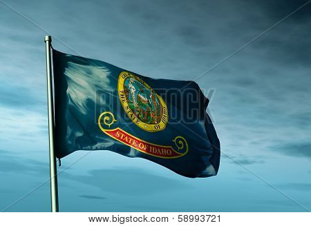 Idaho (USA) flag waving on the wind