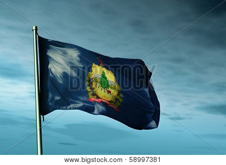 Vermont (USA) flag waving on the wind