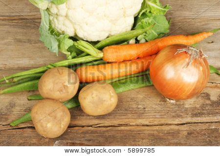 Vegetables On Rustic Wood