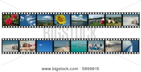 Set Of Filmstrips With Travel Vacation Photos