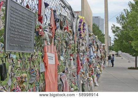 People Exploring The Oklahoma Memorial Fence