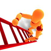 Orange / Red  Manikin Climbing A Ladder poster