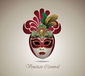 picture of carnivale  - Venetian carnival mask with colorful feathers - JPG