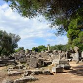 stock photo of olympic-games  - Ancient ruins in Olympia - JPG