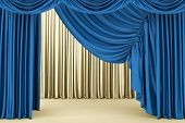 picture of cinema auditorium  - Open blue theater curtain - JPG